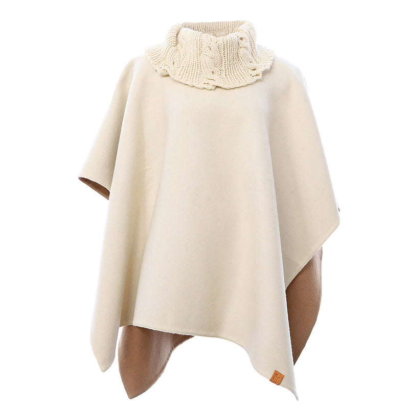 Knit Collar Alpaca Poncho<br>Cream & Camel