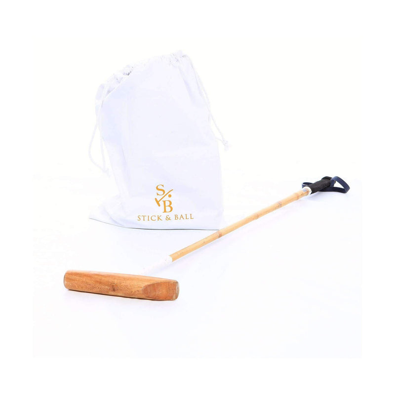 Stick & Ball Logo Cotton Drawstring Bag in White