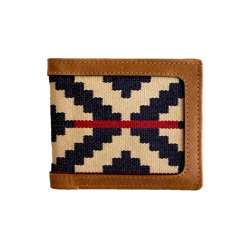 Men's Leather & Woven Wallet with Vegetable-tanned Leather Cotton Weave, Navy & Red Stripe