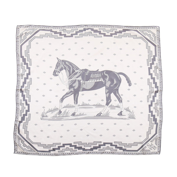 Handmade Large Polo Pony Scarf - Grey - Stick & Ball