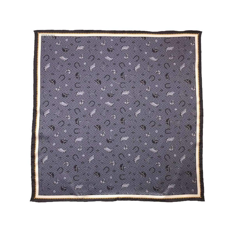 Handmade Polo Essentials Silk Scarf - Grey - Stick & Ball
