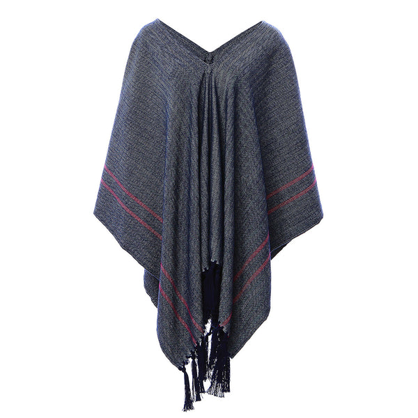 Handwoven Herringbone Alpaca Poncho - Stick & Ball