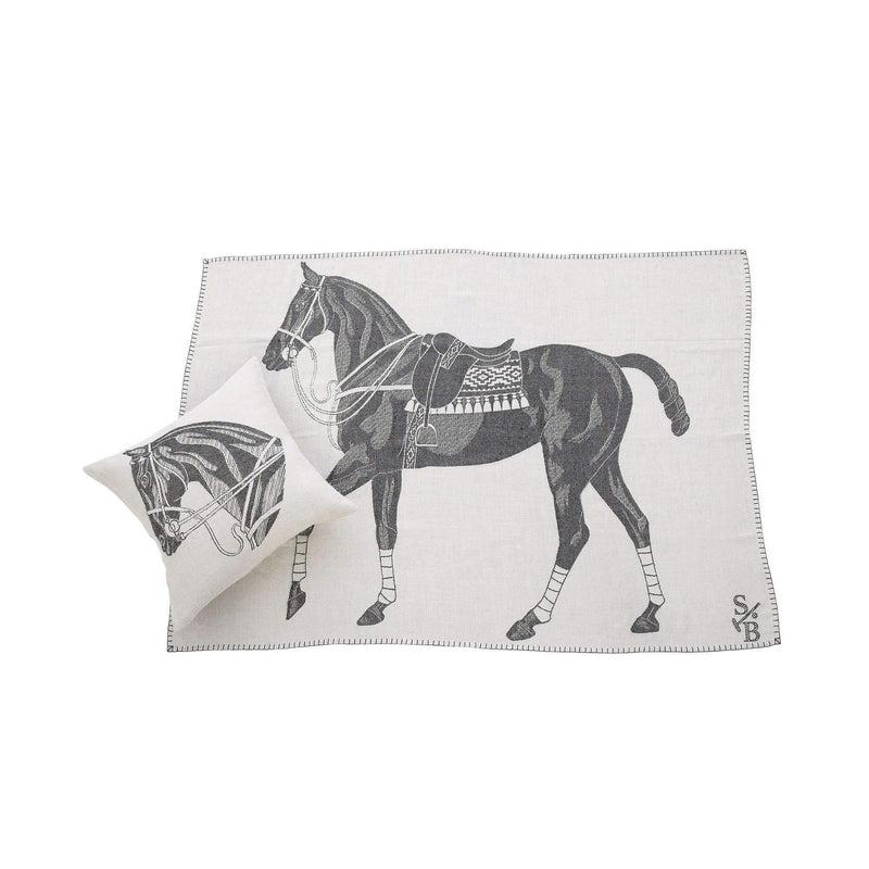 Jacquard-loomed Horse Head Alpaca Pillow & Polo Pony Throw Blanket - Charcoal - Stick & Ball