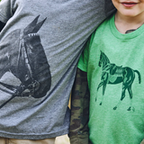Boys wearing Kid's Polo Pony & Tobiana Horse Head T-shirts - Stick & Ball