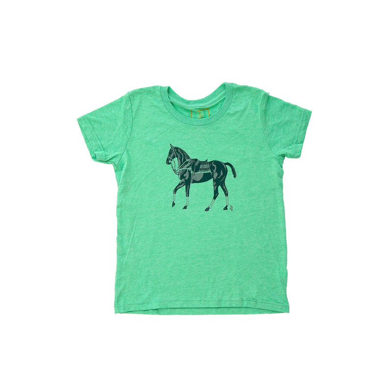 Kid's Polo Pony T-shirt - Green - Stick & Ball
