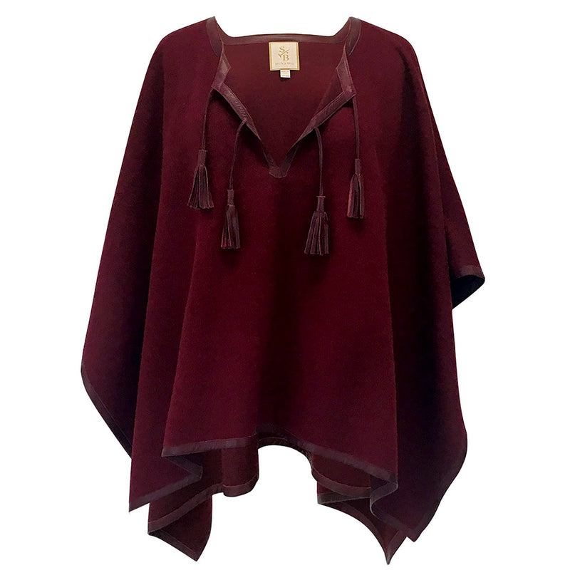 Italian Leather Trim Tassel Alpaca Poncho - Burgundy - Stick & Ball