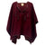 Leather Trim Tassel Poncho - Burgundy