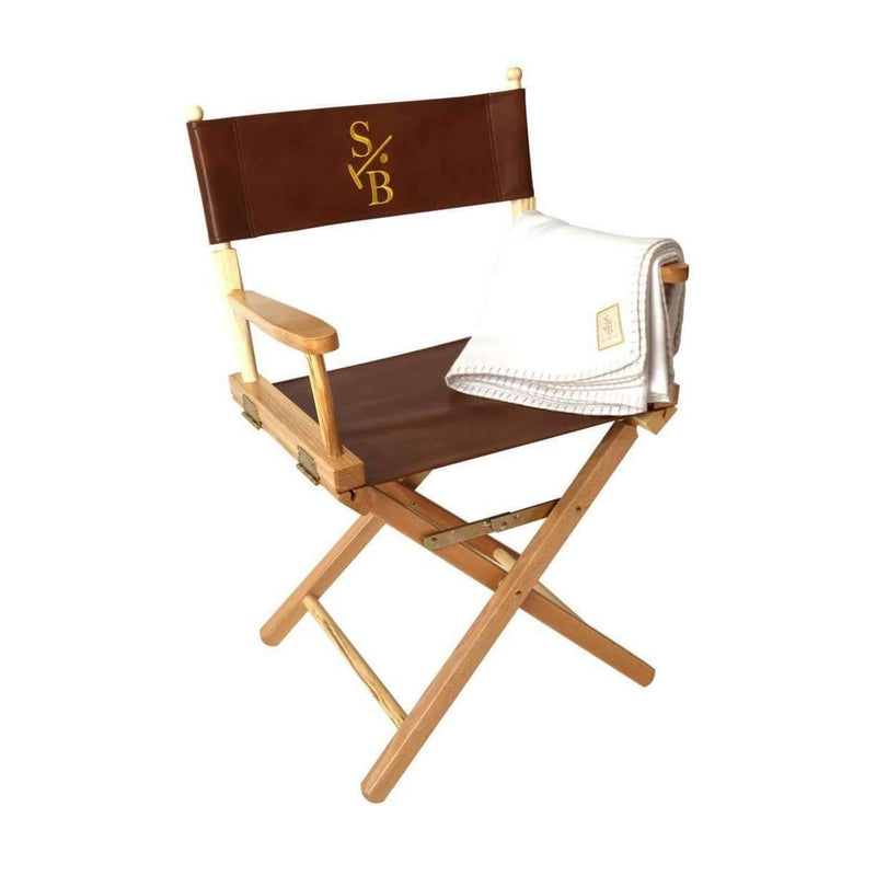 Director's Chair, with gold embroidered Stick & Ball Logo with Winter White Alpaca Throw Blanket