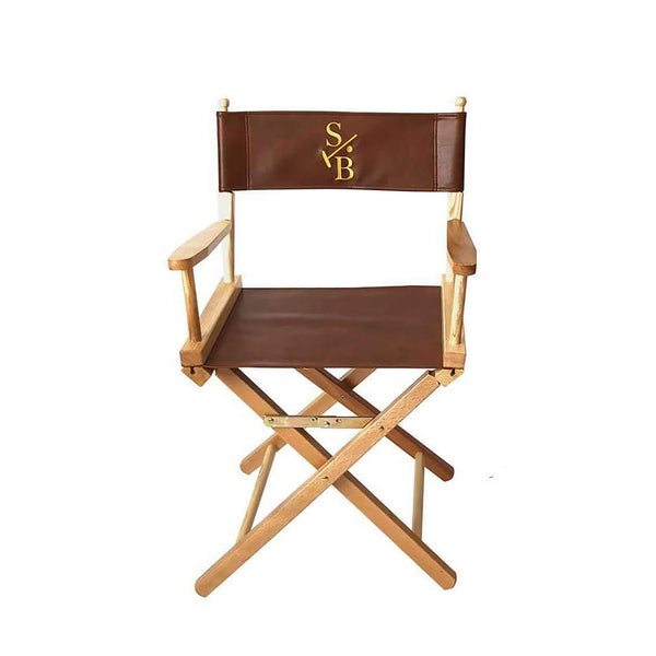 Single Director's Chair, leather with gold embroidered Stick & Ball Logo