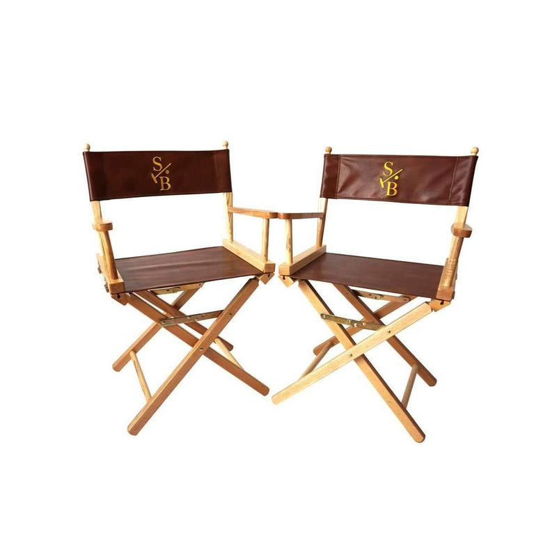 Two Director's Chairs, leather with gold embroidered Stick & Ball Logo
