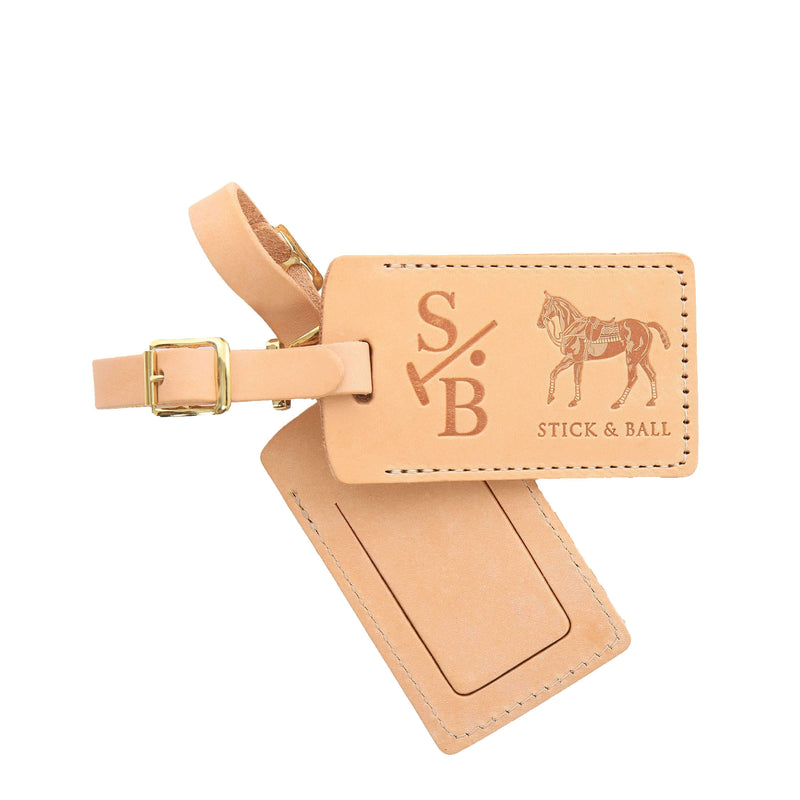 Two Handmade Leather Luggage Tags with Signature Polo Pony - Stick & Ball
