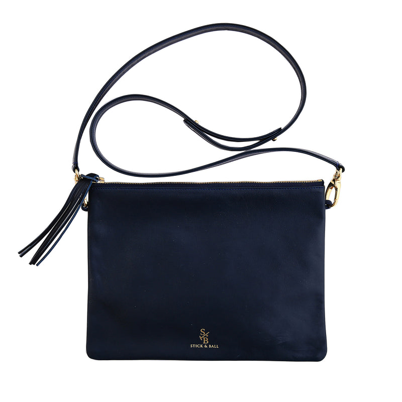 Handmade Vegetable-tanned deerskin leather Indio Crossbody Bag/Clutch in Navy - Stick & Ball