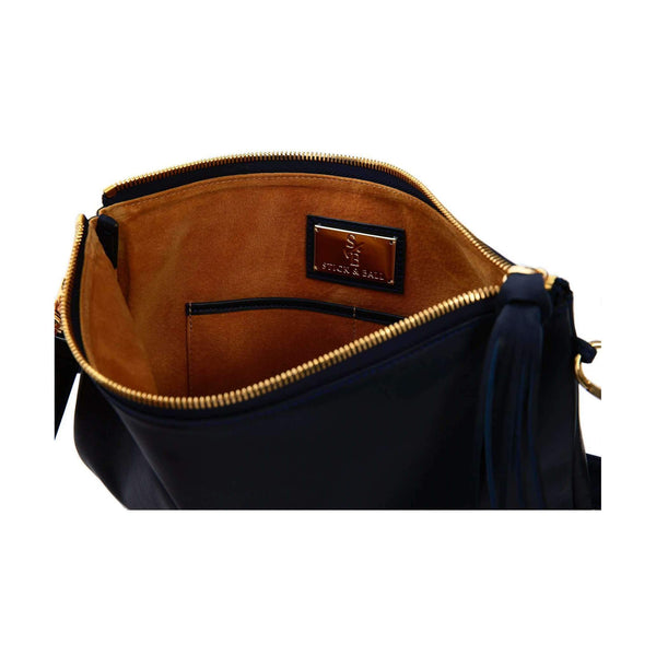 Gold zipper & Suede Interior of Indio Crossbody Bag/Clutch in Navy - Stick & Ball