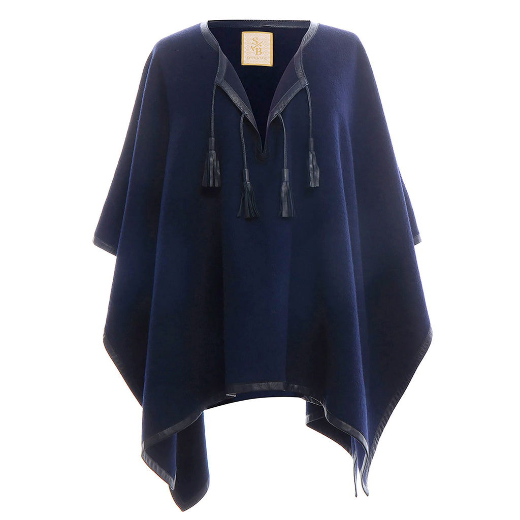 Leather Trim Tassel Poncho - Navy