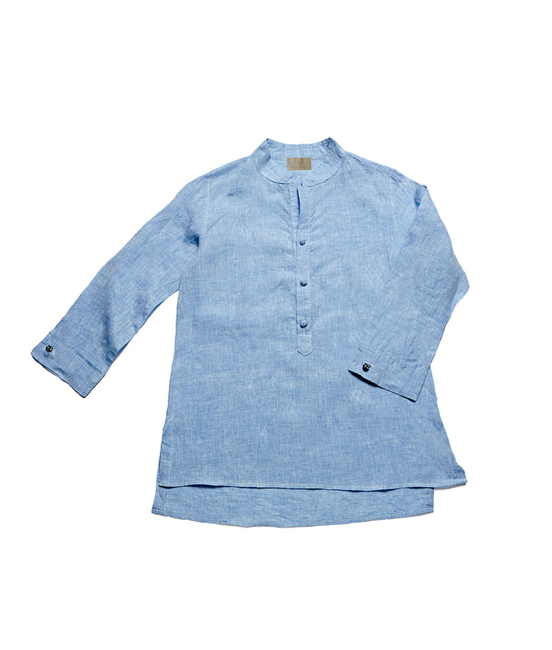 Women's Nehru Collar Linen Shirt - Pacific Blue