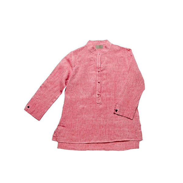 Women's Nehru Collar Linen Shirt - Raspberry Red