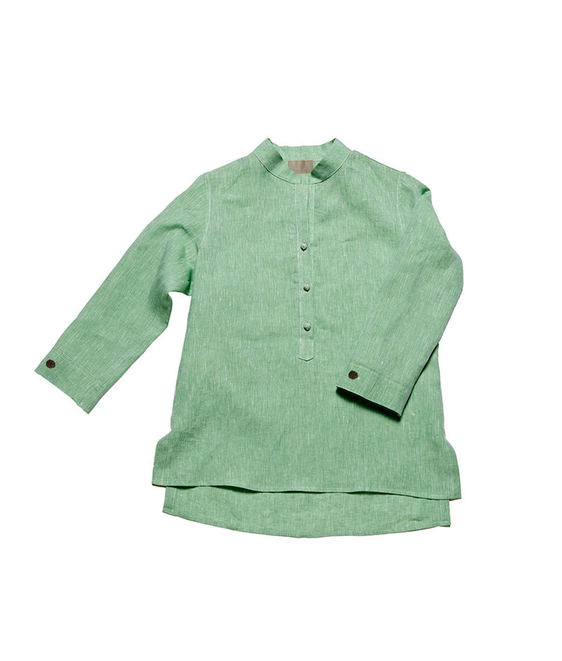 Women's Nehru Collar Linen Shirt - Sage Green