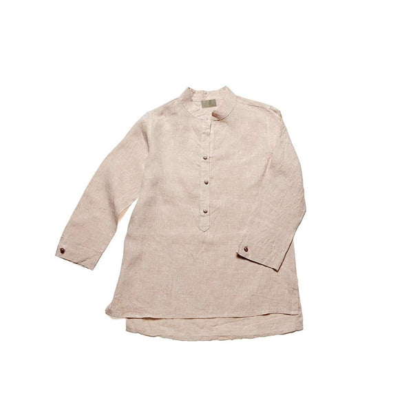 Women's Nehru Collar Linen Shirt - Sand