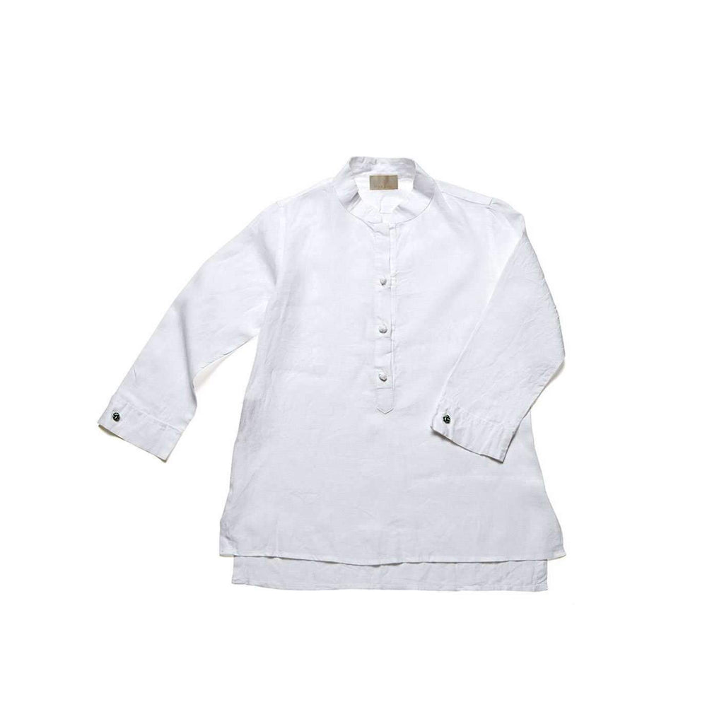 Women's Nehru Collar Linen Shirt - White