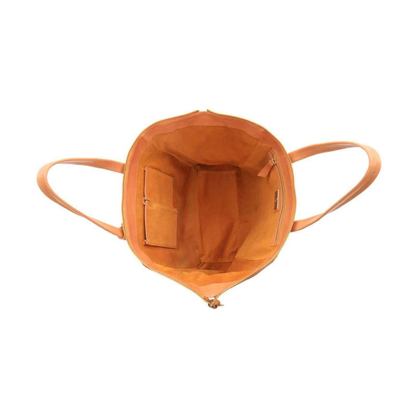 Suede interior of Vegetable-tanned Italian Leather Palermo Soho Tote - Tan - Stick & Ball