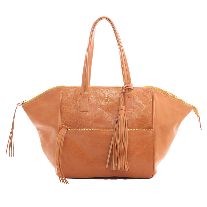 Handcrafted Vegetable-tanned Italian Leather Palermo Soho Tote - Tan - Stick & Ball