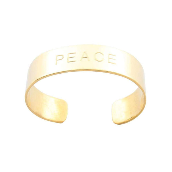 Solid Brass PEACE Cuff - Stick & Ball