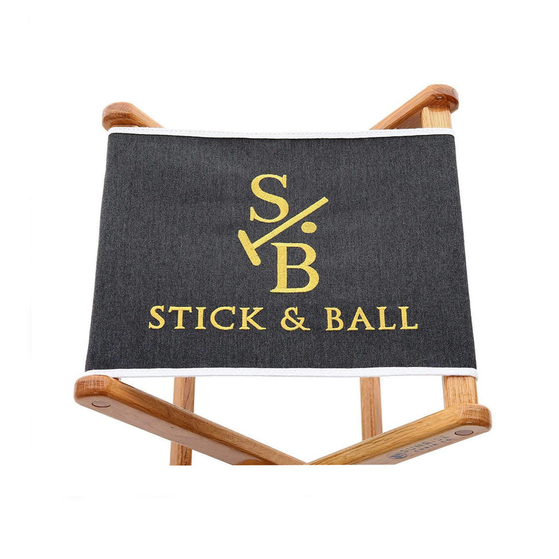 Canvas Embroidered Folding Chair in Charcoal with Stick & Ball Logo in Gold
