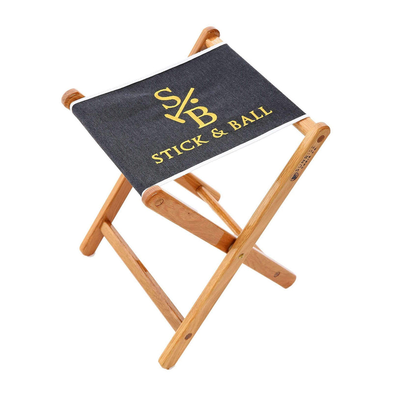 Handcrafted Canvas Embroidered Folding Chair - Charcoal with Stick & Ball Logo in gold