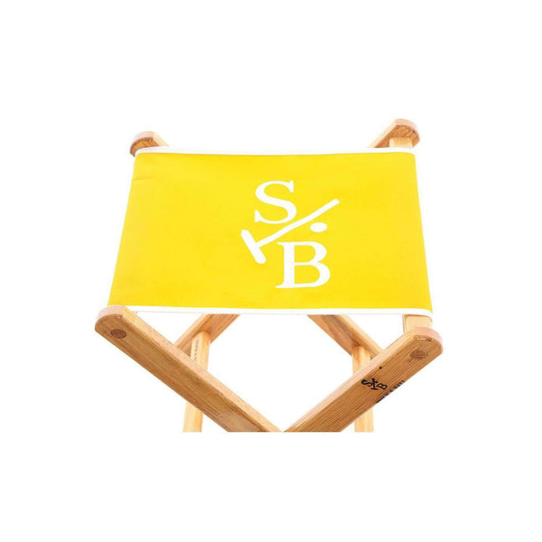 Canvas Embroidered Folding Chair in Yellow with Stick & Ball Logo in White