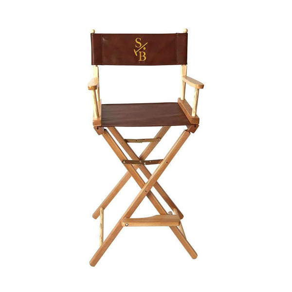 Bar Height Director's Chair, leather with gold embroidered Stick & Ball Logo