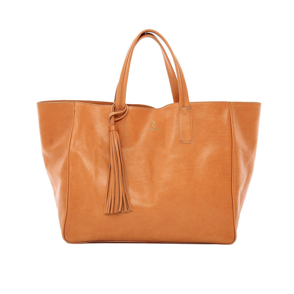 Handmade vegetable-tanned Italian leather Wellington Weekender Tote - Tan - Stick & Ball