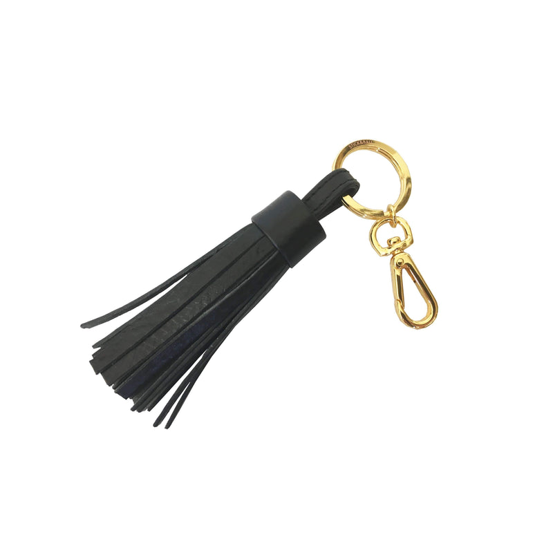 Handmade Vegetable-tanned Italian Leather Tassel Keychain in Black - Stick & Ball