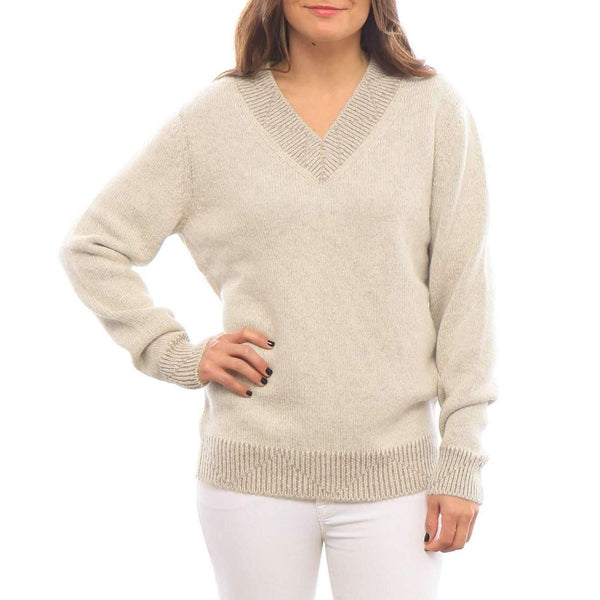 Woman wearing oatmeal alpaca v-neck sweater- Stick & Ball