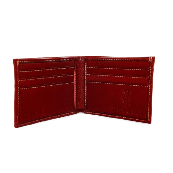 Men's Leather & Woven Wallet with Vegetable-tanned Leather with cotton weave - Red, interior