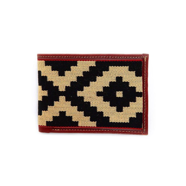 Men's Leather & Woven Wallet with Vegetable-tanned Leather with cotton weave - Red - Stick & Ball