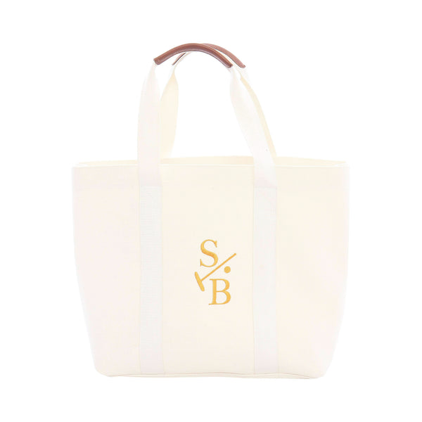 Cotton Canvas White Embroidered Tote with Stick & Ball Logo in Gold