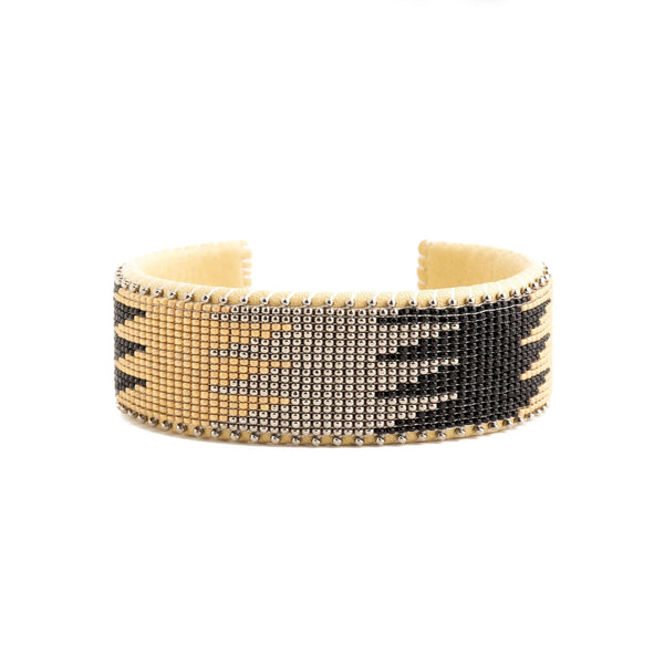 Drew Nickle Etkie Glass Cuff in Large with Gold, Black and silver colors