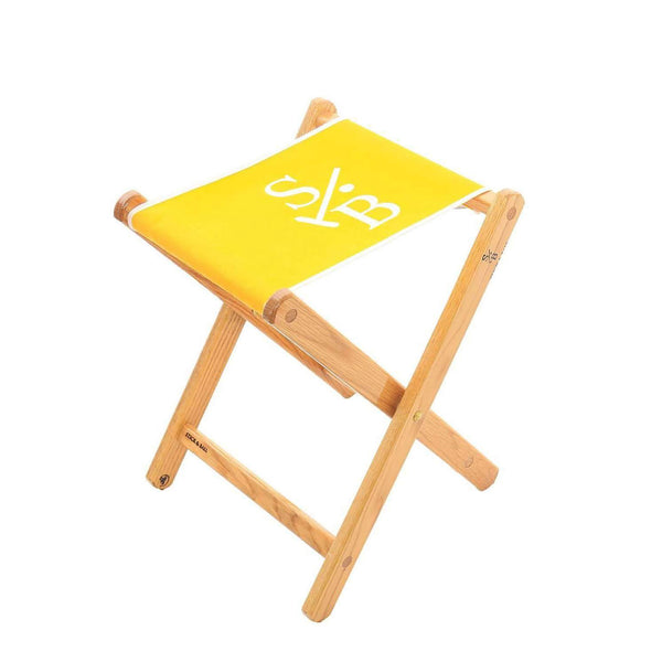 Handcrafted Canvas Embroidered Folding Chair - Yellow with Stick & Ball Logo in White