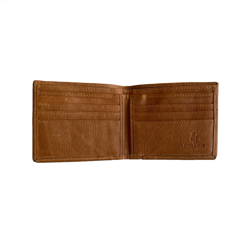 Men's Leather & Woven Wallet with Vegetable-tanned Leather Cotton Weave, Navy & Red Stripe, interior