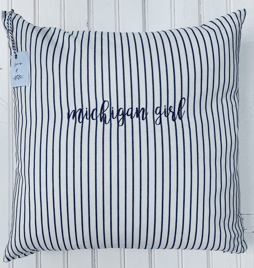 [A] Michigan Girl Embroidered Pillow