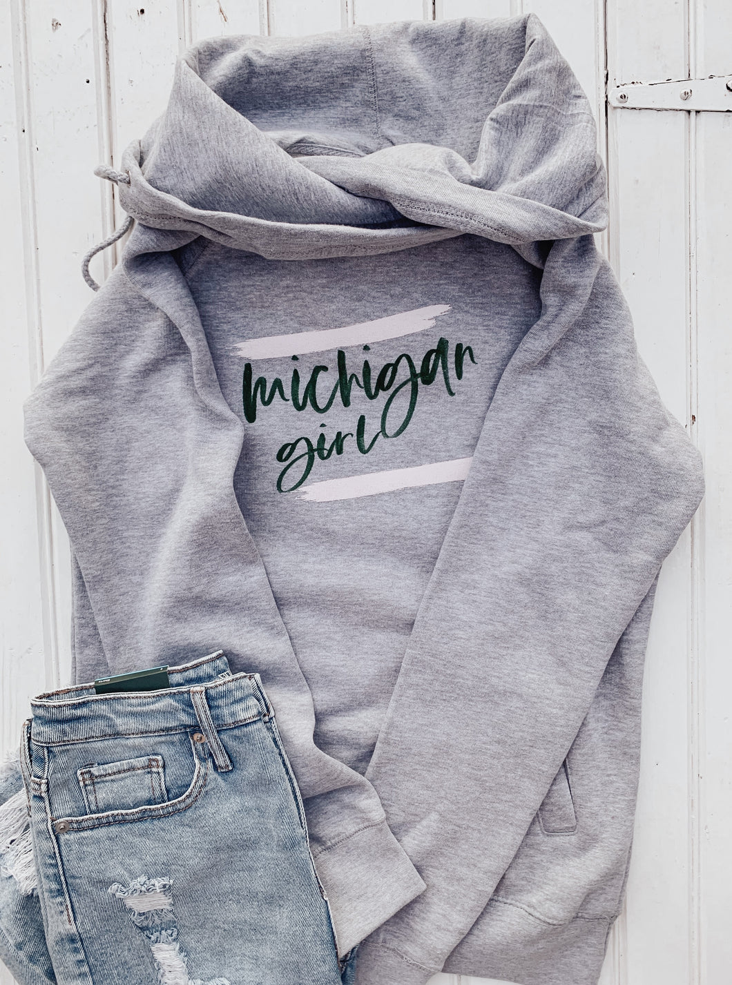 [A1] Michigan Girl Funnelneck - Athletic Heather with Green + Pink