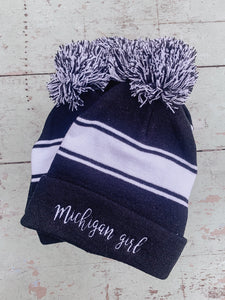 [C] Michigan Girl Pom Pom Beanie- Black + White