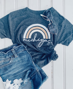 [N] Michigan Girl Youth + Toddler Tee- Black Heather
