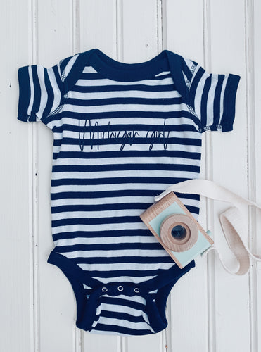 [I] Michigan Girl - Navy + White Stripe