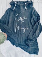 Load image into Gallery viewer, [D] Coffee + Michigan Funnelneck Pullover- Black Heather