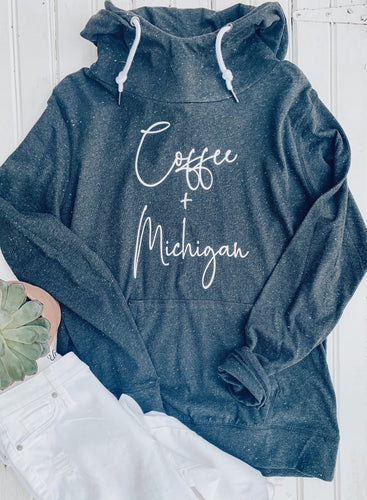 [D] Coffee + Michigan Funnelneck Pullover- Black Heather