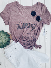 Load image into Gallery viewer, [L] Midwest Girl V-Neck Heather Tee- Maroon Heather