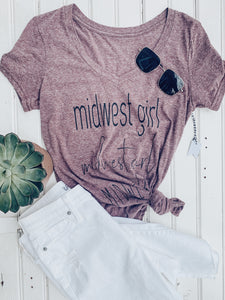 [L] Midwest Girl V-Neck Heather Tee- Maroon Heather
