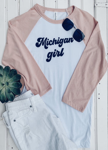 [Z] Michigan Girl Baseball Tee- White + Dusty Pink