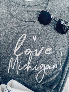 [H] Love Michigan Brushstroke Tee- Black Heather